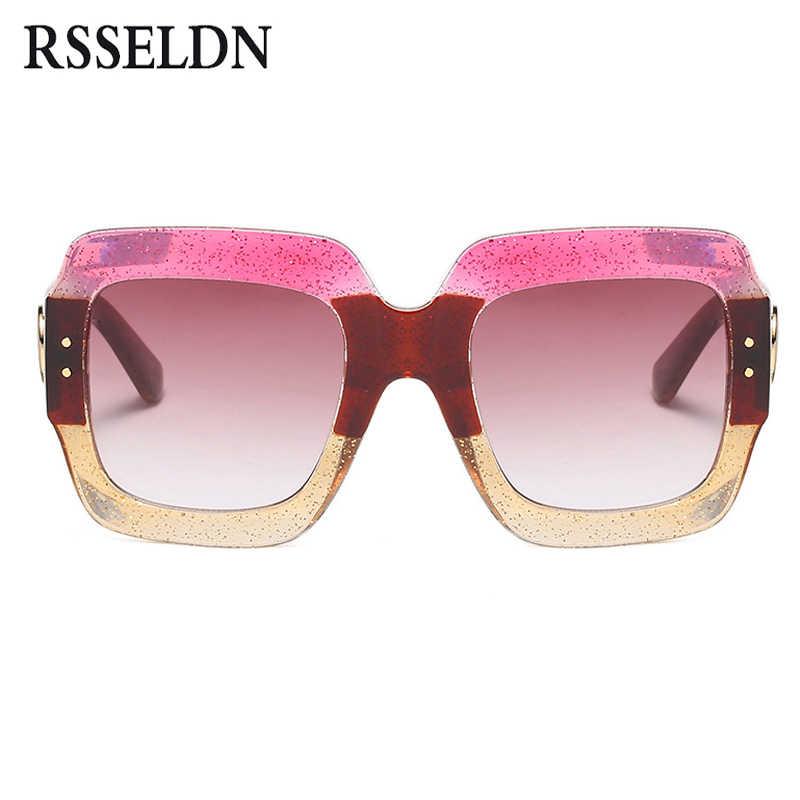 86a4277d776 ... RSSELDN Oversized Square Sunglasses Women Fashion Gradient Lens Sun  Glasses For Women Brand Luxury Black Green ...