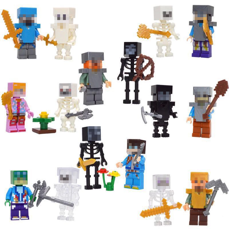 8 Sets/lot Minecraft Toys Blocks Action Figures With Weapons Assembly Minecraft Building Blocks Funny Toys Gift For Children #E 60pcs lot 108 111 ghostbusters super heroes figures with weapons building blocks bricks toys for children birthday gifts