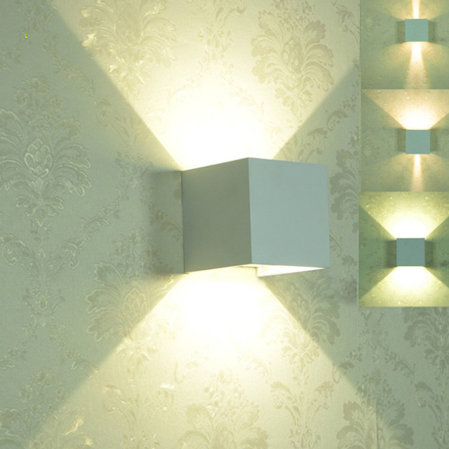 6W Waterproof Led Wall Lamp Wall Light Dimmable Surface Mounted Outdoor Cube Luminaire Up And Down Wall Lights For Home Lighting