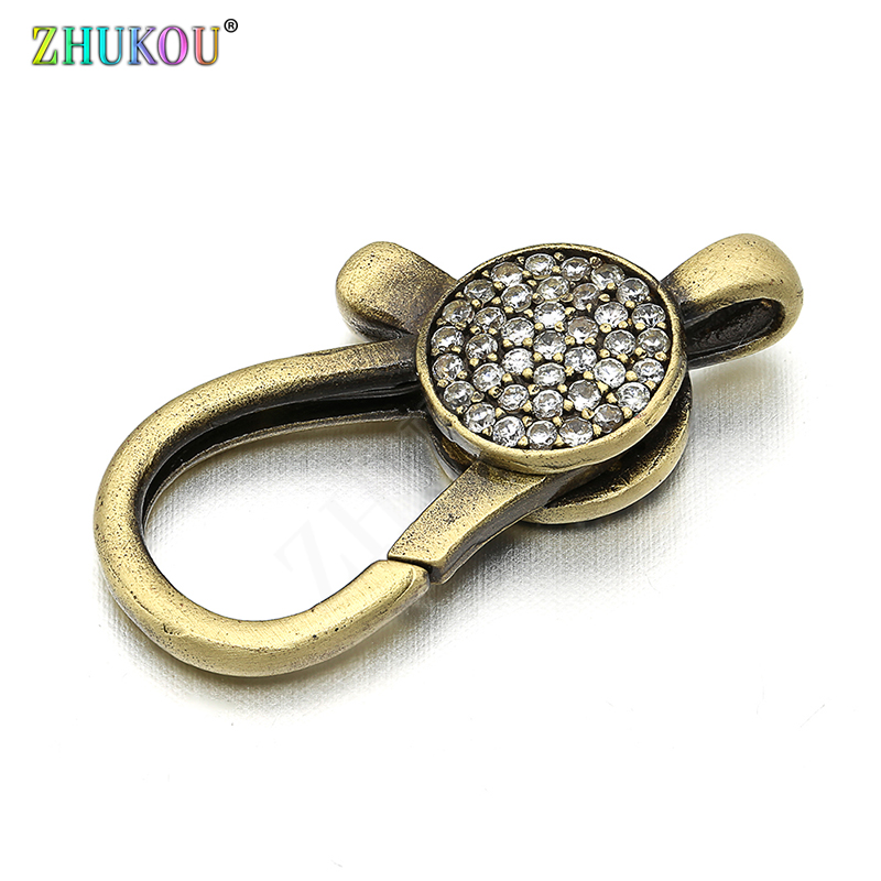 13*26mm Brass Cubic Zirconia Lobster Clasps Hooks For Diy Jewelry Findings Accessories, Mixed Color, Hole: 2mm, Model: VK51
