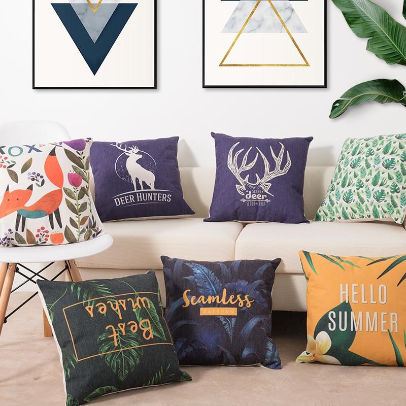 HTB1MwXaaED1gK0jSZFGq6zd3FXao Deer Cushion Cotton Two side printed linen Cartoon stripes tropical plants European style