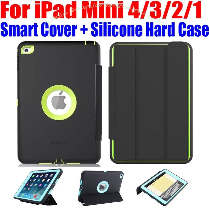 For IPad Mini 4 3 2 Smart Cover Silicone Hard Case Kids Safe Armor Shockproof Heavy
