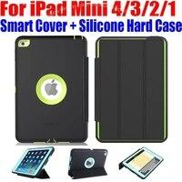 Voor iPad Mini 4/3/2/1 Smart Cover + Siliconen TPU Hard Case Kinderen Veilig Armor Shockproof Zware met Screen Protector IM408