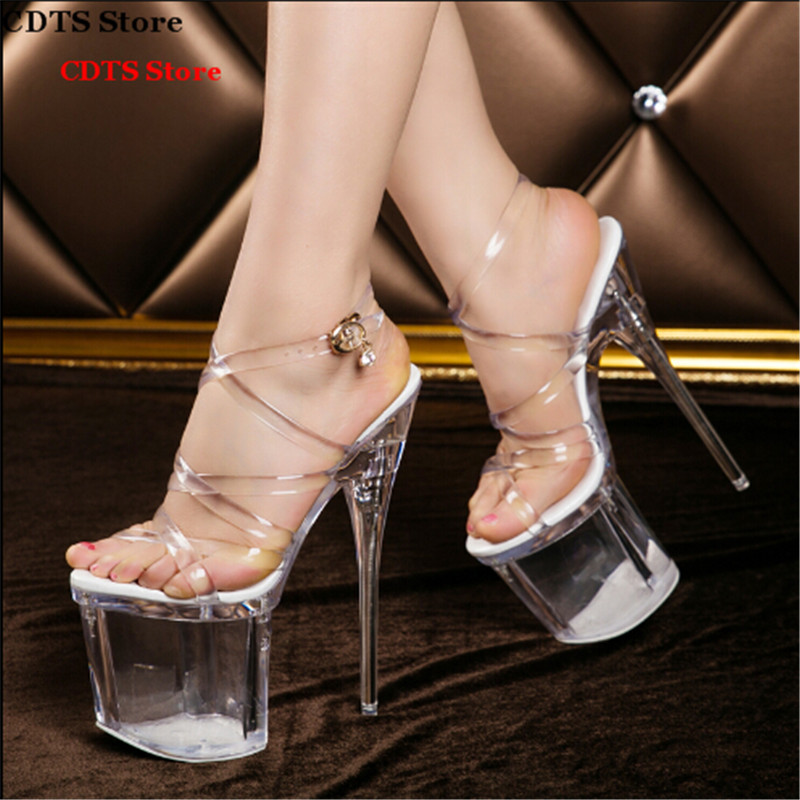 ФОТО Crossdresser Summer cross-strap sandals 19/20cm thin high heels sexy Peep toe transparent platforms pumps women wedding shoes