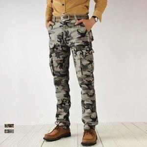 Image 3 - 2020 outono nova camuflagem calças de carga dos homens alta qualidade moda casual em linha reta algodão marca tático masculino