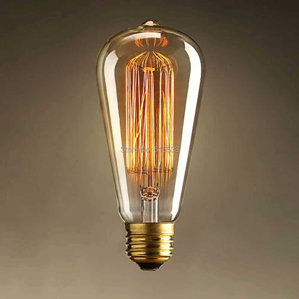 Vintage Antique Style Retro Edison Incandescent Filament Light Bulb Home Deco lignting Fixture E27/220V/40W ST64 - YH Lighting Manufacturer store