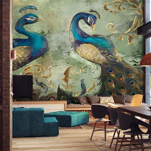 Custom 3D Muurschildering Behang Retro Stijl Pauw Achtergrond Wanddecoraties Grote Muur Schilderen Woonkamer Sofa Slaapkamer Behang.jpg 640x640 - Pauw Behang
