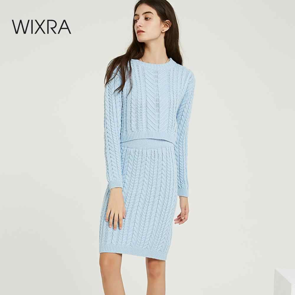 Wixra Autumn Winter Knitted Women's Sets O Neck Long Sleeve Short Sweaters Knee-Length Skirts Solid Sets For Ladies