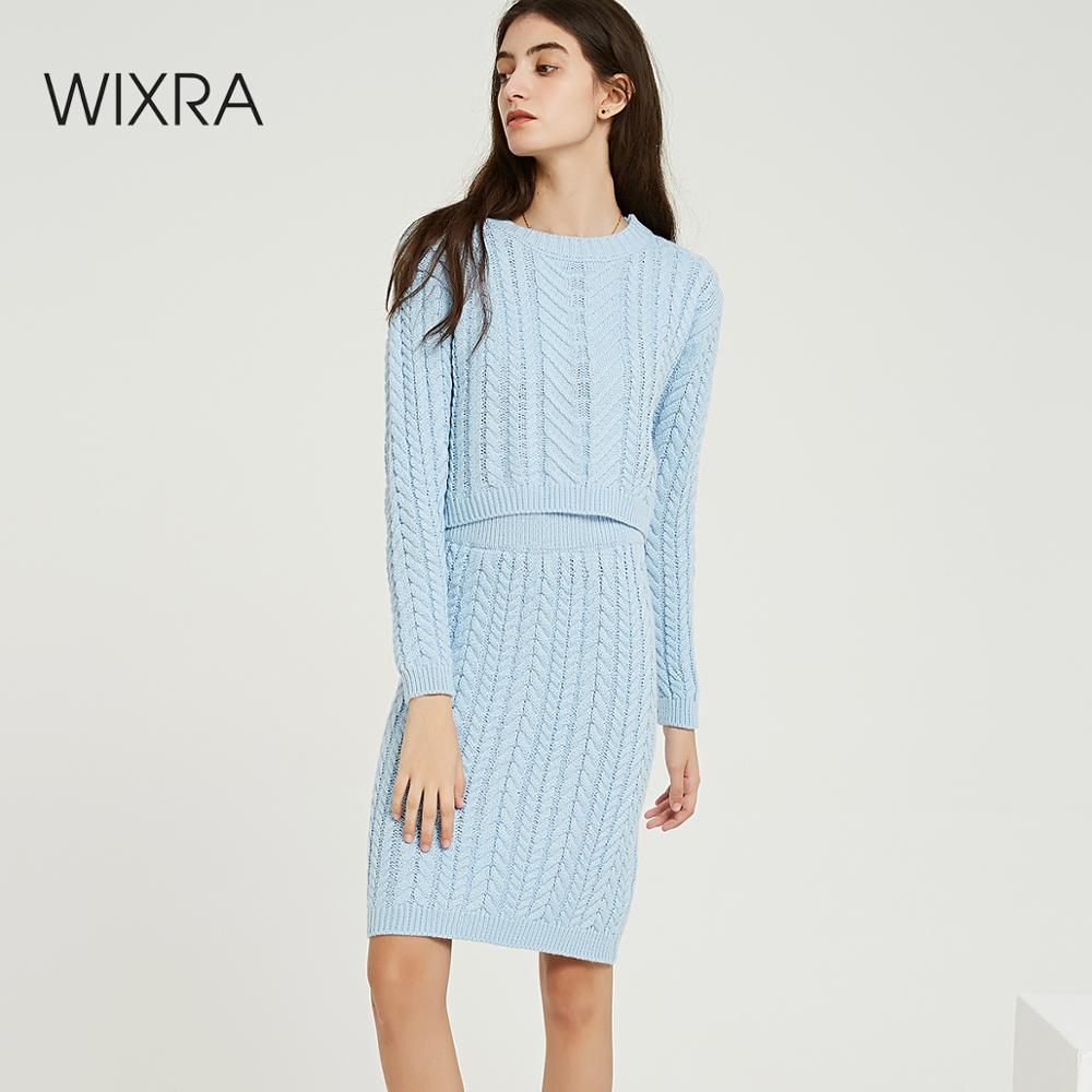 Wixra Autumn Winter Knitted Women's Sets O Neck Long Sleeve Short Sweaters Knee Length Skirts Solid Sets For Ladies