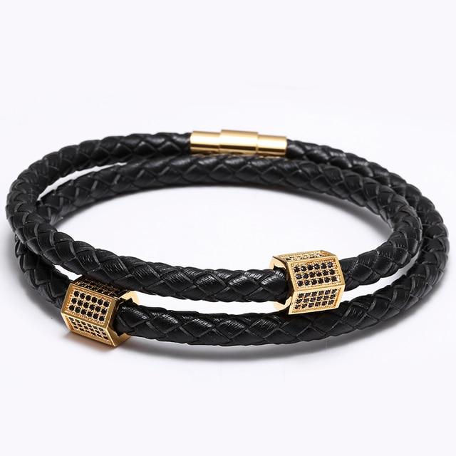Vintage CZ Paved Men Women Charms Black Genuine Leather Bracelets Luxury Punk Wrist Jewelry Christmas Gift Bracciale Uomo Punk