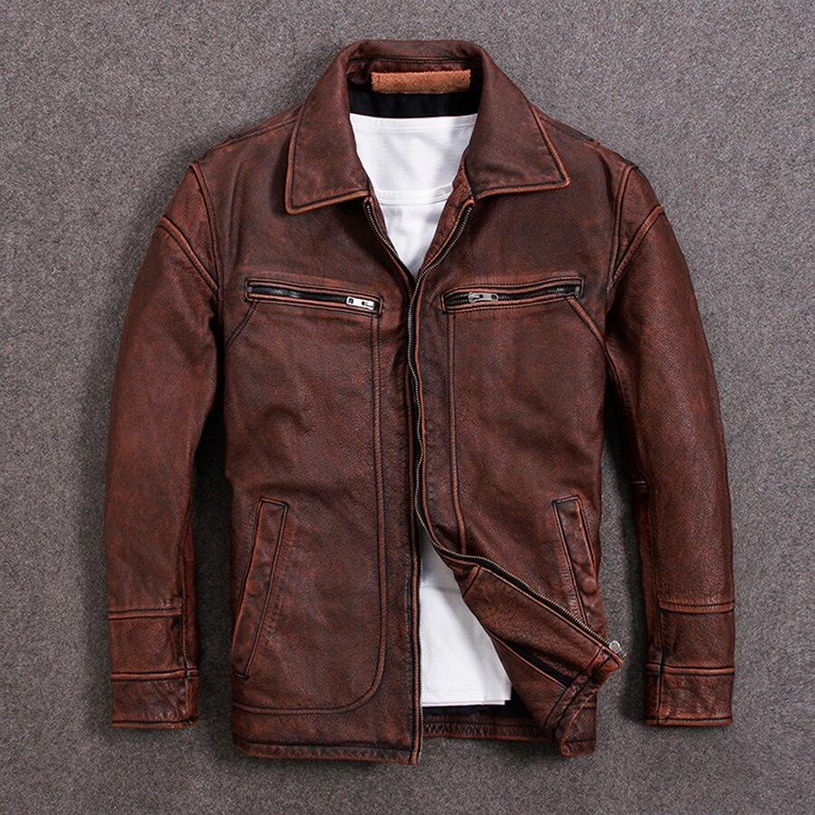 HARLEY DAMSON Vintage marrón Hombres estilo americano Casual chaqueta de cuero talla grande XXXL cuero grueso genuino otoño abrigo de cuero