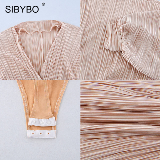 Sibybo Deep V-Neck Patchwork Sexy Bodysuit Women Fashion Long Sleeve Loose Women Rompers Autumn Casual Bodysuit Jumpsuit 2019 5