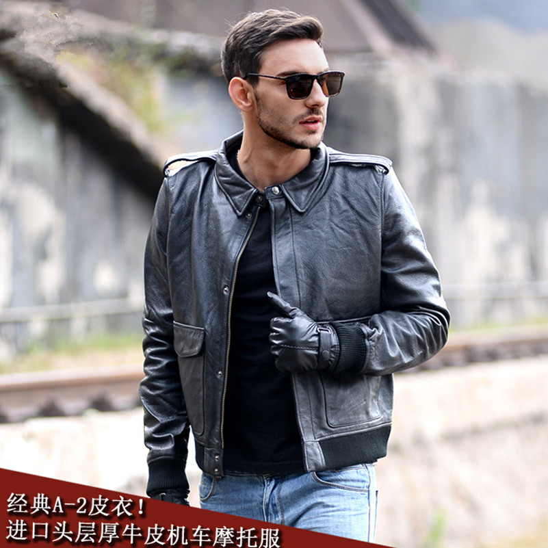 540deab742 US $203.57 |American A 2 air force pilot jacket slim fit men casual genuine  leather jacket classical style motorcycle leather jacket autumn-in Genuine  ...