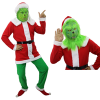 Adult How the Grinch Stole Christmas The Grinch Cosplay Santa Claus Costumes Cap Socks Belt Latex Mask