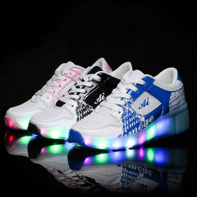 NEW Children Wheels Shoes With LED Lighted Mesh Breathable Kids Roller Shoe Boys Girls Fashion Casual Wheel Sneakers pink