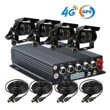 Бесплатная Доставка 4 Канала Автомобиль DVR Kit H.264 4 Г GPS Трек автомобиль Мобильный DVR Рекордер Реального времени PC Phone Вид Сзади Долг камера