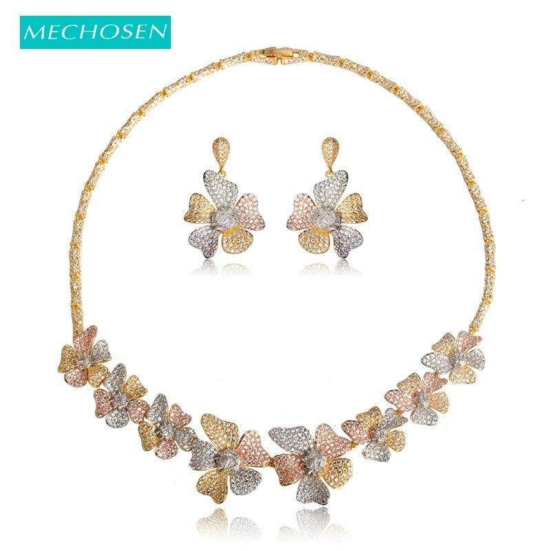 MECHOSEN Women Bridal Colorful Flower Wedding Jewelry Sets Necklace Earrings 3 Tone Rose Gold Silver Colors Dubai African Bijoux