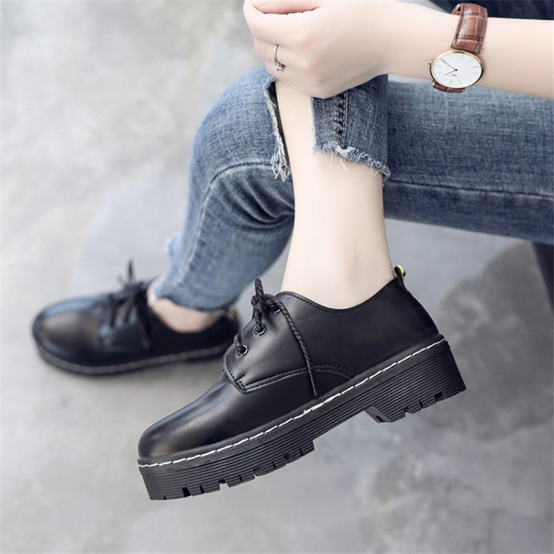 British Style Women Flats Oxford Shoes Girl Spring Soft Leather Casual Shoes Lace Up Womens Shoes Retro Brogues Flat Shoe e lov women casual walking shoes graffiti aries horoscope canvas shoe low top flat oxford shoes for couples lovers