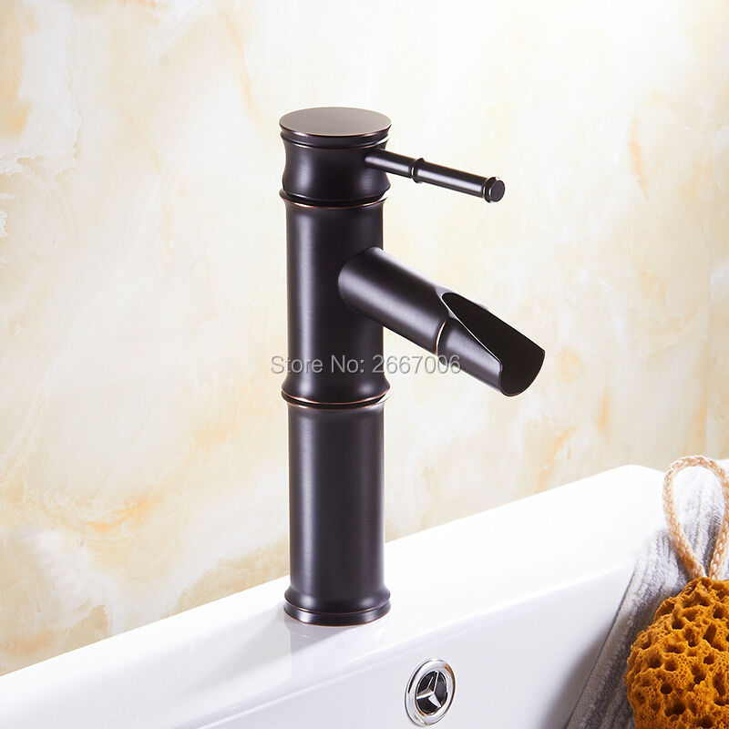 Free Shipping Black Antique Bamboo Bathroom Basin Faucet brass bathroom faucets single handle Hot and Cold Water Tap GI617