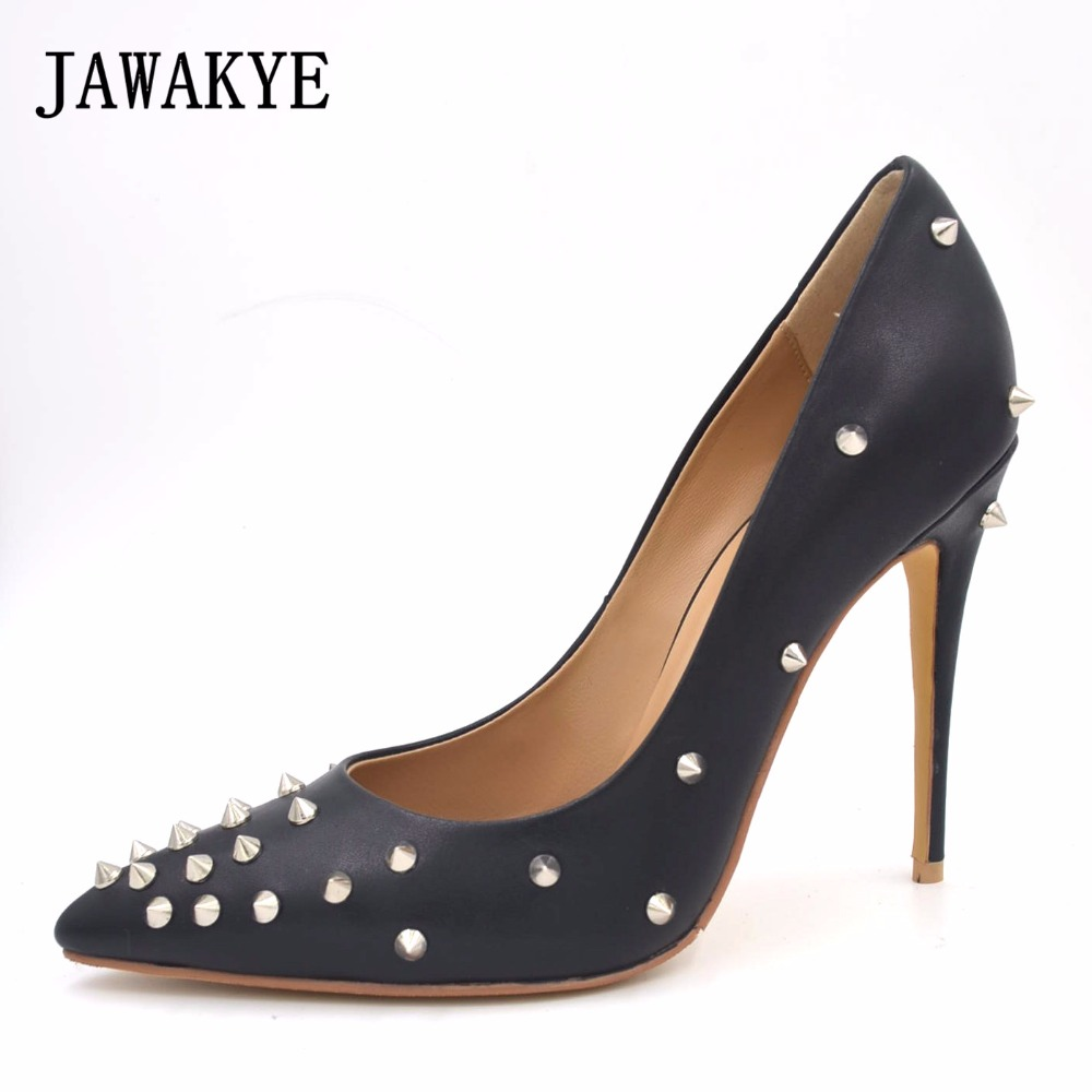 JAWAKYE black beige white Women Pumps sheep skin High Heels 2018 spick Rivets studded stilettos Pointed Shoes women plus size