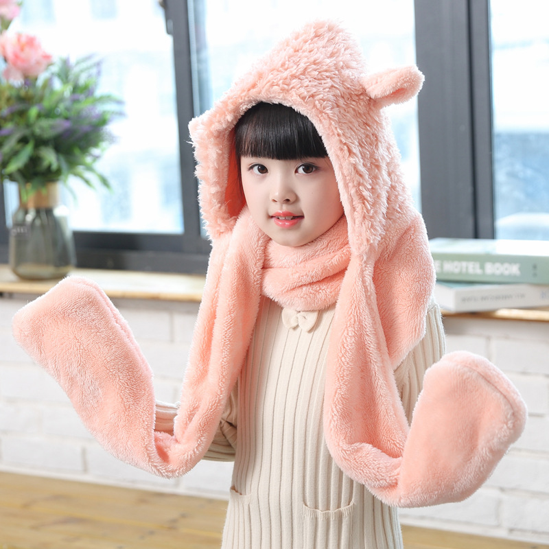 VOHIO Christmas Child female Winter Scarf candy colored embroidery shawl with cartoon thick warm cashmere scarf long male gift