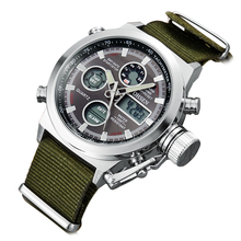 2016 Luxury Brand Военная Армия Часы Мужчины Кварцевые Аналоговые Часы Холст Ремешок Часы Мужчины Спортивные Часы цифровой Светодиодный Часы Relogios