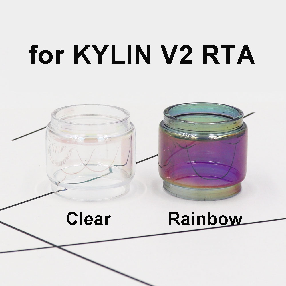 2/3PCS Replacement Rainbow Clear Transparent Fatboy Glass Tube Replacement For VandyVape Kylin V2 RTA Bubble 5ML