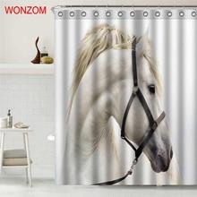 WONZOM Animal Horse Shower Curtains For Bathroom Decor Modern Flamingo 3D  Bath Waterproof Curtain With 12