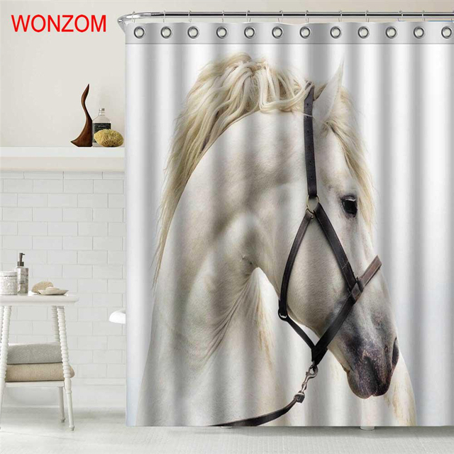 WONZOM Animal Horse Shower Curtains For Bathroom Decor Modern Flamingo 3D Bath Waterproof Curtain With 12 Hooks New Arrivals