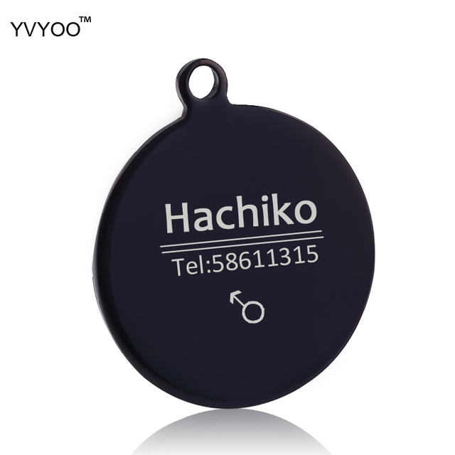YVYOO Dog collar Stainless steel dog cat tag Free engraving Pet collar accessories ID tag name telephone Pet Supplies AA