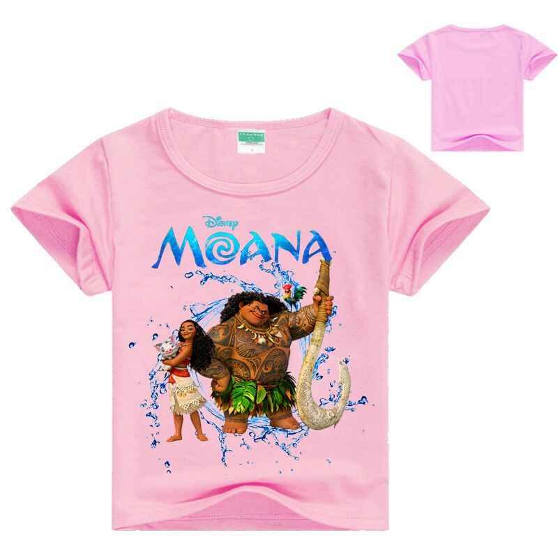 23616f4dd 2018 Summer T-shirts For Girls Moana Princess Costume For Baby Girls Pink Cotton  T