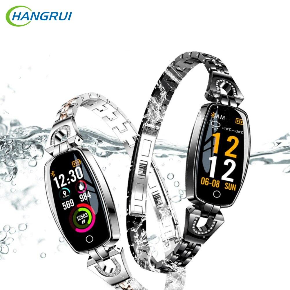Hangrui H8 2019 Smart Watch Sport Fitness Heart Rate Calories Blood Pressure Monitor Waterproof Bracelet Women