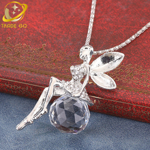 crystal pendant necklace women jewelry long sweater chain necklace buttfly eye flower collares gold silver color