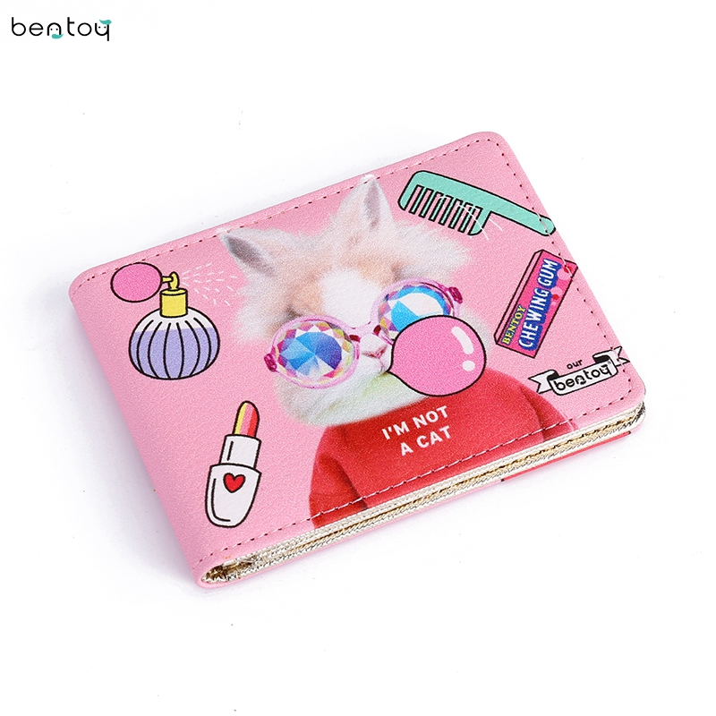 Bentoy Cartoon Animal Leather Money Wallet Women Driver's License Cover Fashion Credit Card Bank Card ID Holder Case For Girls