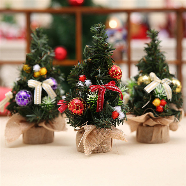 Realistic Mini Christmas Tree Cute Plastic Small Xmas Pine Trees Party Home Desk Table Decorations