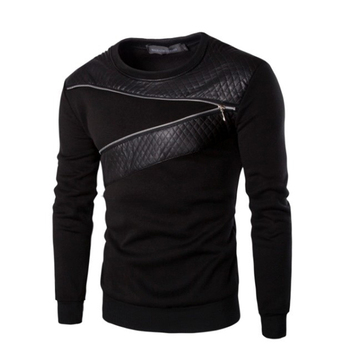 Men`s Leather T-Shirts Long Sleeve O Neck Gothic Punk Style Black Tees With Zippers