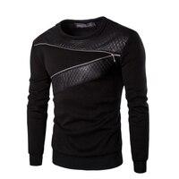 Idopy Men S Leather T Shirts Long Sleeve O Neck Gothic Punk Style Black Tees Shirts