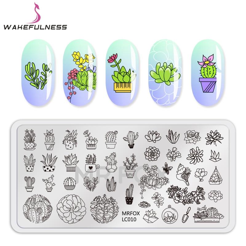 Nailart-vorlagen Nailart PüNktlich Wach Topfpflanzen Muster Nail Stamping Platten Rechteck Blumen Nail Art Schablone Vorlagen Maniküre Nagel Stempel Werkzeuge