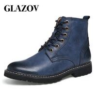 GLAZOV Men Boots Winter With Fur 2018 Warm Snow Boots Men Winter Boots Work Shoes Men Footwear Fashion Rubber Ankle Shoes 39 46