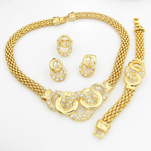 yellow Real Gold Plated African Costume Jewelry Set Rhinestone Crystal Necklace Gorgeous Jewelry Gift For Women