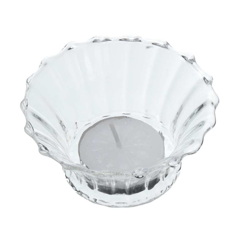 Modern <font><b>Design</b></font> Transparent Flower Round Shape <font><b>Glass</b></font> <font><b>Candle</b></font> <font><b>Holder</b></font> Tealight With One <font><b>Candle</b></font> for Home Wedding <font><b>Romantic</b></font> Dinner Decor