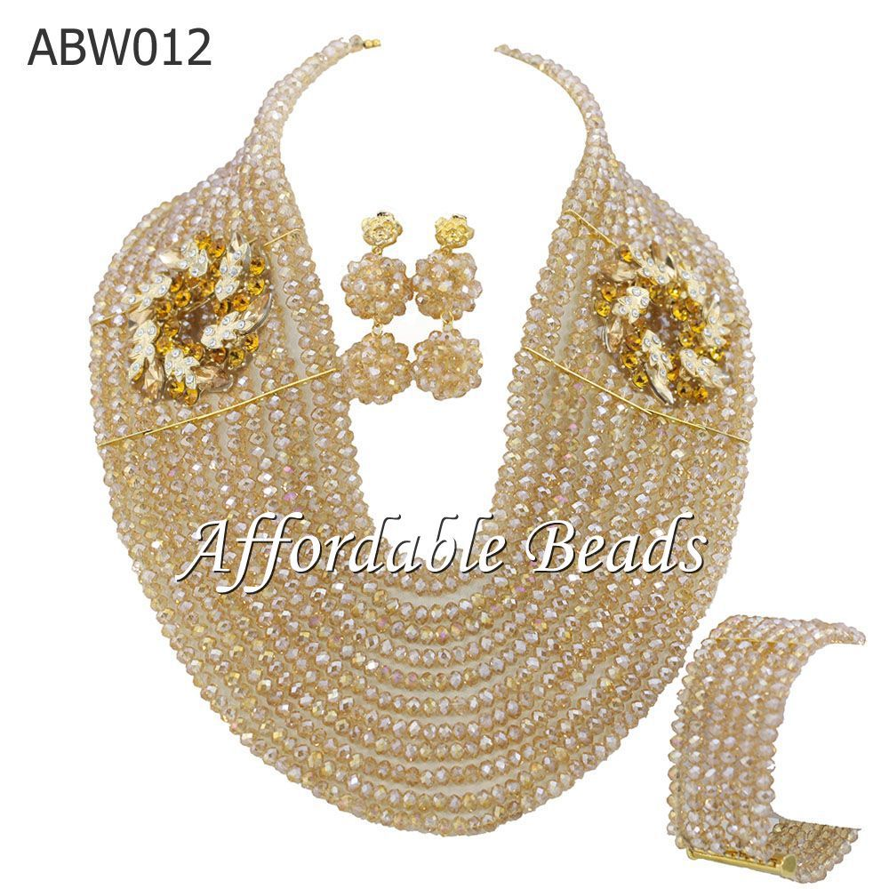 Free Shipping Champagne African Beads Jewelry Set Fashion African Beads Set ABW012Free Shipping Champagne African Beads Jewelry Set Fashion African Beads Set ABW012