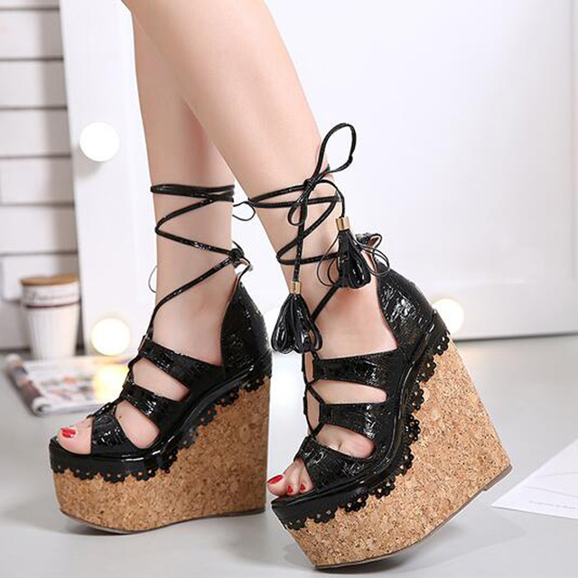 7f7f96d3a710ac pom pom sandals women wedges platform shoes wedges sandals Peep Toe High  Heels sandals fringe shoes