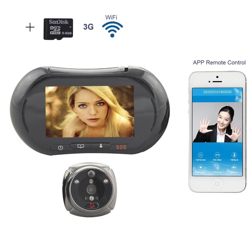 WiFi Digital Peephole Door Viewer - Willful 3.7 LCD Touch Screen Front Door Peephole Camera Wifi Doorbell with Intercom Black цена
