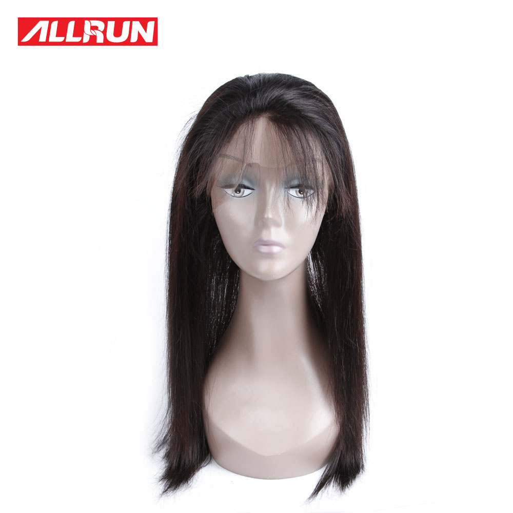 Allrun Brazilian Straight Hair Natural Color 360 Lace Frontal Human Hair Closure 100% Non Remy Hair Extensions