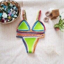 Sexy Women Crochet Bandeau Bikini Set Push Up