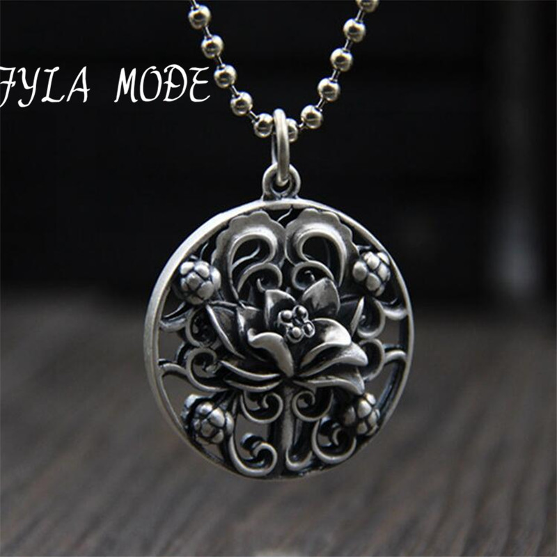 Wholesale S925 Silver Hollow Lotus Flower Necklace Solid