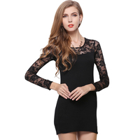 Starlist Long Sleeve Floral Lace Dress Party Weeding Rose Pattern Sexy Dress