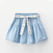 2019 summer  baby girls shorts Pants kids Solid color Loose sashes cute belt Bow soft Denim Princess blue for party
