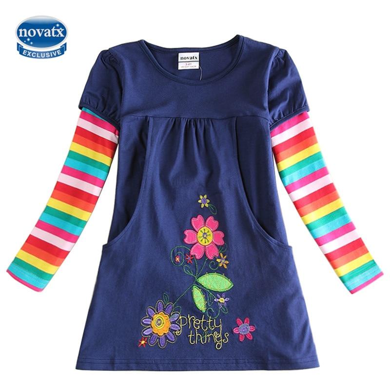 novatx H5802 Baby girls dresses long sleeve children clothes hot selling flowers fashion nova kids wear girls frocks